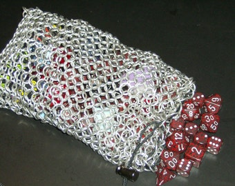 Chainmail Dice Bag - Silver