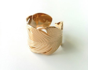 Ring plume, gold plated ring 18 k - ring leaf ring pen - adjustable size - gold plated 18 k