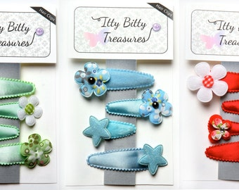 My Doll & Me Handmade set of 4 fabric baby hair clips, toddler hair clips, girls hair clips - YOU PICK.