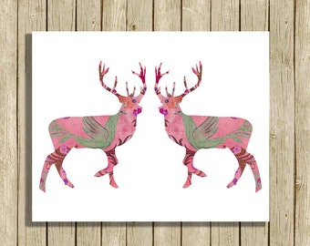 printable Christmas wall art pink reindeer instant download 8 x 10 nursery modern contemporary art print home decor