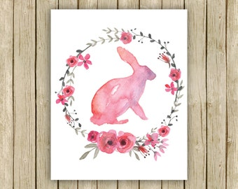 Nursery art print baby girl wall art printable pink rabbit and flower wreath watercolor nursery poster downloadable nursery decor art print
