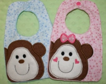 24 Hour Sale Price!!!   Monkey Bibs Embroidery Machine Design for the 6x10 hoop