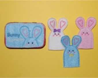 Bunny Finger Puppet Tin Embroidery Machine Design for the 4x4 hoop