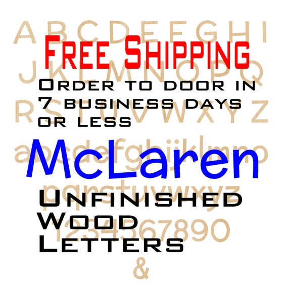 Unfinished Wood Letters Numbers, Free Shipping, McLaren, Wood Craft, laser cut wood, &, birch, wooden, wall, DIY, Wedding