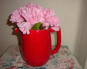 vALentine Sale vintage red glazed ceramic farmhouse wedding nursery pitcher home decor