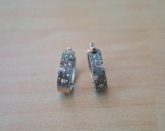 Vintage Art Deco Style Sterling Silver Marcasite Hoop Earrings