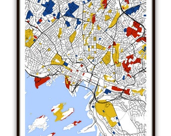 Oslo Map Art / Oslo, Norway Wall Art / Print / Poster / Modern Home and Office Decor