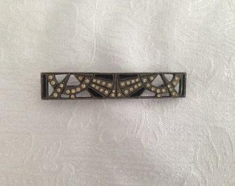 Art Deco Black pin with Rhinestones