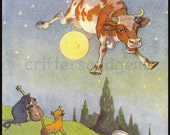 Vintage Cow jumps over the moon Mother Goose nursery illustration digital download