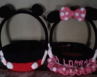 Crochet Mickey Mouse or Minnie mouse easter basket