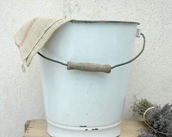 Vintage French enamelware pail