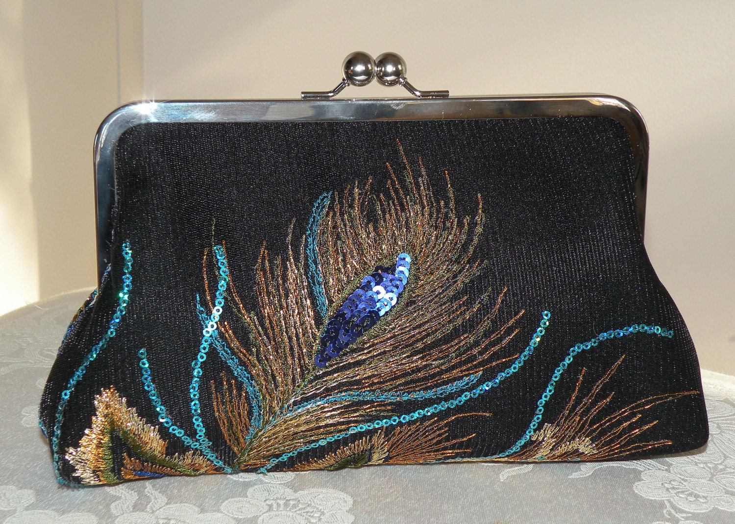 peacock feather clutch bag purse embroideredsequinsblack