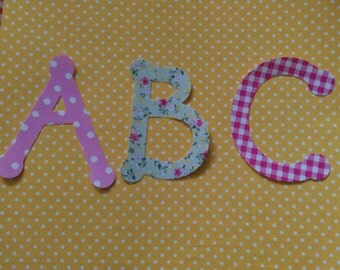 Large uppercase iron on 'no sew' fabric letters / numbers alphabet numberline great for bunting and customising. 4 inches (10cm) high!