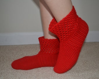 Crochet Bright Red Socks, Red Home Boots, Red Home Shoes, Women Accessories