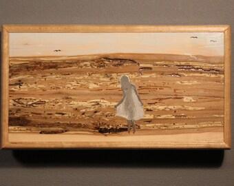 Girl and Ocean at Dawn - Wood Inlay