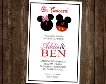5x7 Mickey/Minnie Sibling Birthday Invitation