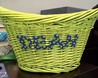 Personalized woven baskets.