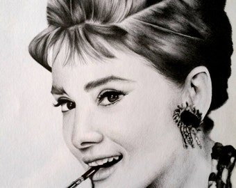Audrey Hepburn Pencil Drawing Portrait Print