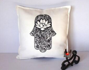 Hamsa white pillow, Hamsa cushion, Lotus flower, Screen printed Hamsa cushion, Yoga accessories, Yoga home decor, Cushion cover, Chill out