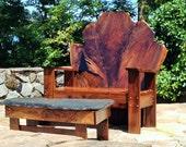 Custom, live edge , Black Walnut Adirondack style chair with matching black walnut and polished slate coffee table