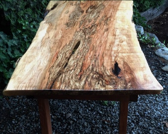 Live edge Spalted Maple table on Mahogany base