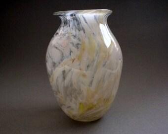 Blown White Swirl Vase