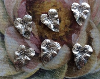 Antique silver brass .75 inch leaf charms 6 pc