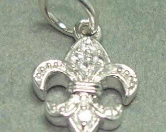 sterling silver cz fleur de lis charm 1 pc.