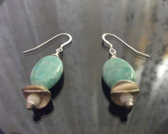 African Amazonite, Sterling Silver and Glass
