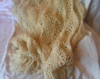 Shawl, Crocheted Ivory Shawl