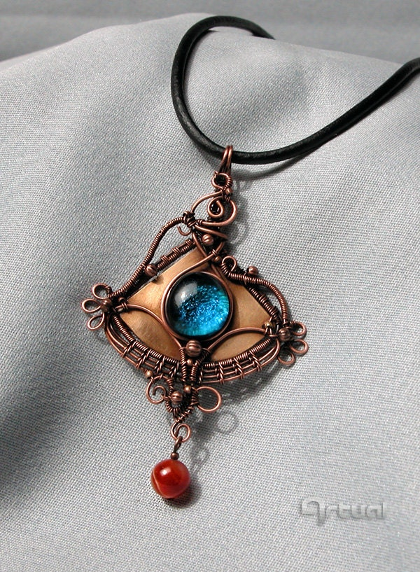 Wire Wrapped Blue Glass Cabochon Pendant On Copper Sheet