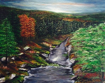 THE DARK FOREST   lovely unique oil painting,original  one of a kind,beautiful colors.Now***********   Free Shipping**********