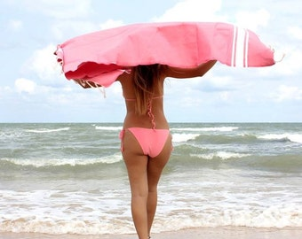 Pink Fouta Towel Tunisian luxury linen spa beach