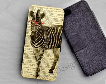 Zebra wear sunglasses Wallet case, iPhone 6 flip case, iPhone 4 / 4s / 5 / 5s /5c case, Samsung Galaxy S3 S4 S5, Samsung Note 2 3 4 case
