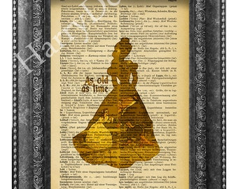 Beauty and the Beast art print, dictionary page print, wall decor, home decor, wall hanging