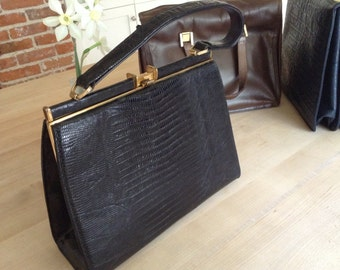 Vintage Lesco Black Lizard Handbag