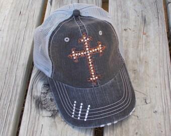 Blessed Life LEOPARD CROSS Baseball Bling Ladies Womens Trucker Hat Cap