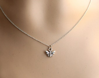 tiny bee necklace, cute silver bee necklace, kids gift, black friday SALE