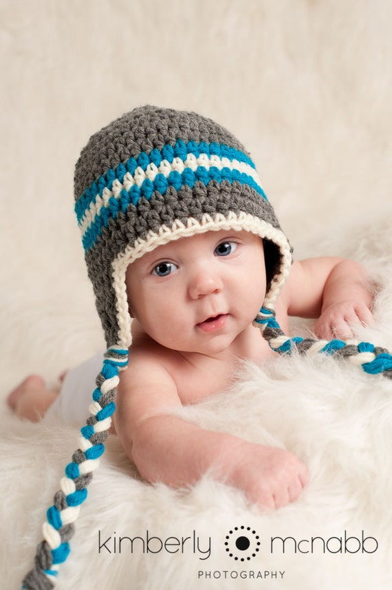Newborn Crochet Hat Pattern With Ear Flaps : Baby Boy Hat Ear Flap Hat Crochet Baby Hat Baby Boy Baby