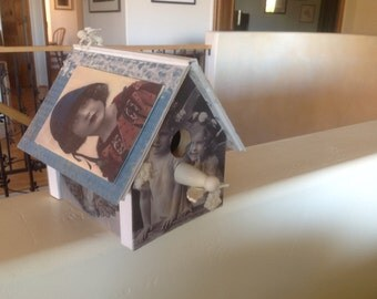 Upcycled angel bookshelf birdhouse is a one of a kind accent piece BR006 on sale!