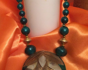 Vintage Green Bead Statement Necklace