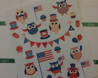 4th of July Owl Stickers! Perfect for your Erin Condren Life Planner, calendar, Paper Plum, Filofax!