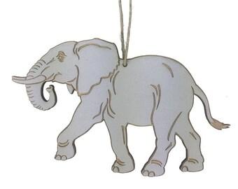 Wooden Elephant Christmas Ornament
