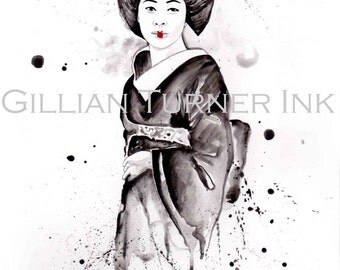 Japanese Geisha Watercolour painting on A4 Bristol Board
