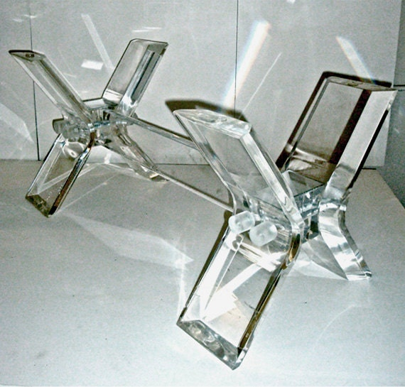 Lucite Coffee Table Thick Acrylic And Glass By