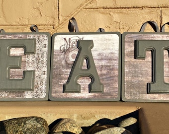 Wooden EAT sign perfect for kitchen or dining room.
