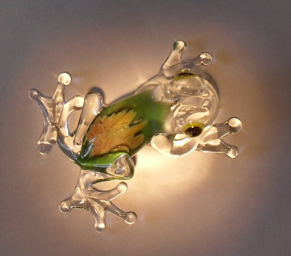 Two Glass Frog Hand Made Blown Tree Frog Australian Made