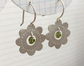 Olive Swarovski Crystal Sterling Silver Flower Earrings