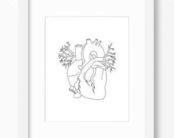 Heart Art, Heart Print, Anatomy Art, Anatomy Print, Heart Anatomy Print, Heart Illustration, Anatomy Drawing, Anatomical Heart Drawing