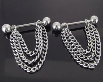 Pair 14G Stainless Steel Chain Dangle Nipple Rings Barbells Sexy Jewelry Gothic Piercing Jewelry